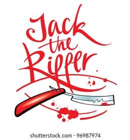 Jack the Ripper maniac killer razor blade blood drop splash