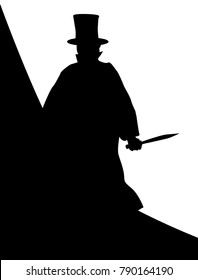 Jack the Ripper in silhouette over a white background.