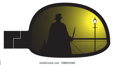 Jack the ripper in a smashed car side mirror isolated on a white background