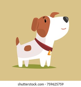 Jack russell puppy character, cute funny terrier vector illustration