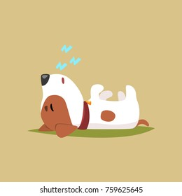 Jack russell puppy character sleeping on its back, cute funny terrier vector illustration