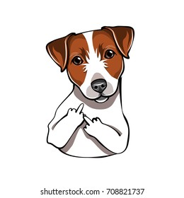 Jack Russell Terrier. The Middle Finger Dog. Comic cartoon pet. Vector illustration isolated on white background