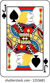 Jack of spades from deck of playing cards, rest of deck available.