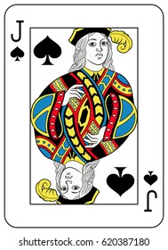 Jack of spades playing card inspired by french tradition