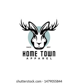 Jackalope Classy Head Logo  Design Illustration, Wild Rabbit Apparel logo vector