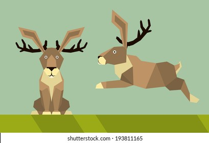 jackalope - flat design simple illustration in the flat style, colors easy to change