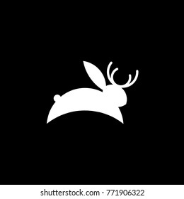 jackalope or hackalope. icon illustration for logo or poster.