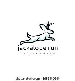 Jackalope logo design. Awesome jackalope logo. A jackalope logotype.