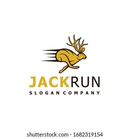 Jackalope run logo design. Awesome jackalope fast run logo. A jackalope run logotype.