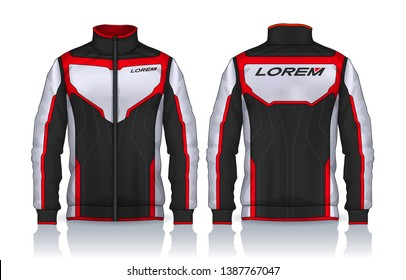 Jacket Design. Sportswear. Track front and back view