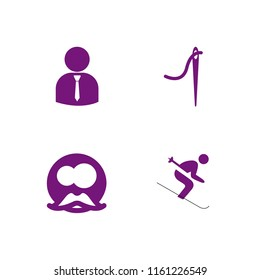 jacket icon. 4 jacket set with gentleman, ski, tailor and business person silhouette wearing tie vector icons for web and mobile app