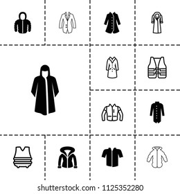 Jacket icon. collection of 13 jacket filled and outline icons such as overcoat, life vest, bulletproof vest. editable jacket icons for web and mobile.