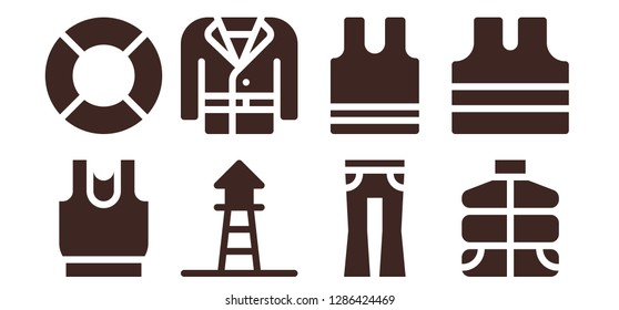 jacket icon set. 8 filled jacket icons. Simple modern icons about  - Clothes, Lifeguard, Coat, Jeans, Sleeveless, Vest, Sleeveless shirt