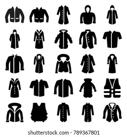 Jacket icons. set of 25 editable filled jacket icons such as overcoat, jacket, hoodie, life vest