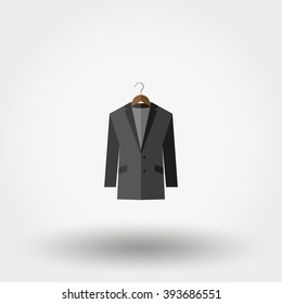 Jacket on a hanger. Icon for web and mobile application. Vector illustration on a white background. Flat design style.