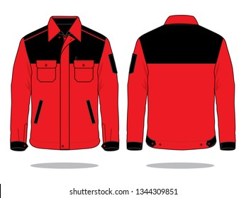 Jacket Vector for Template (Red / Black) : Front & Back View