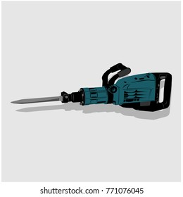 jackhammer industrial vector color a gray background