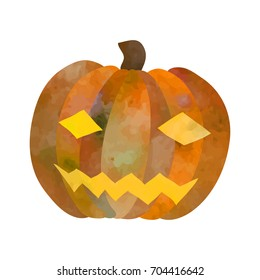 Jack-o-lantern. Funny cartoon clip art illustration on isolated background. Watercolour imitation.