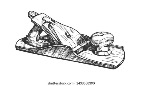 Jack-plane Hand Industry Instrument Closeup Vector. Jack-plane Equipment For Wood Processing And Manufacture Furniture. Carpenter Craft Tool Drawn In Vintage Style Monochrome Cartoon Illustration
