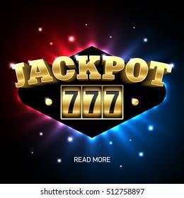 Jackpot 777, lucky triple sevens jackpot casino banner. Vector illustration.