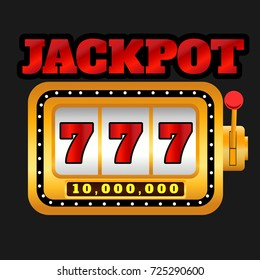 Jackpot 777 Slot machine Spin casino game on gray background