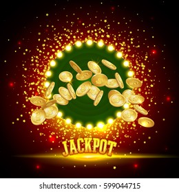 Jackpot Banner. Gold coins in flight. The coin icon with shadows. 3d realistic vector, EPS 10.