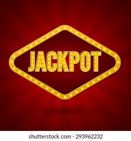 Jackpot. Banner Lighting. Vector illustration