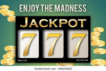 Jackpot banner for online casino, poker, roulette, slot machines, card games. Elements for gambling. Three sevens