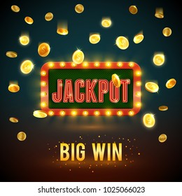 Jackpot big win backdrop of golden coin falling splash for online casino poker game background template. Vector jackpot gold light signage for gambling slot machine or internet bets