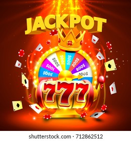Jackpot casino 777 big win slots and fortune king banner. Vector illustration