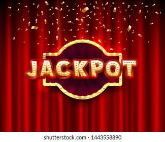 Jackpot casino banner text on the background scene. Vector illustration