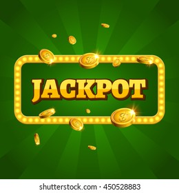 Jackpot casino label background sign. Casino jackpot winner text shining symbol.