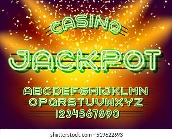 Jackpot casino lettering. Neon Light Alphabet Vector Font. Neon tube letters on dark glow background