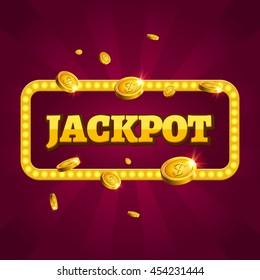 Jackpot casino lotto label background win sign. Casino jackpot winner design gamble text shining symbol.