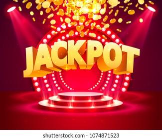 Jackpot casino podium golden coins banner casino. Vector illustration