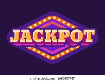 Jackpot casino purple rhombus retro sign flat illustration