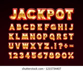 Jackpot font golden symbol, gold letter and numbers set. Vector illustration