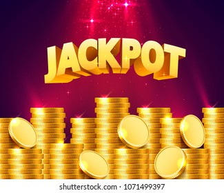 Jackpot in the form of gold coins. Isolated on red background. Vector illustration