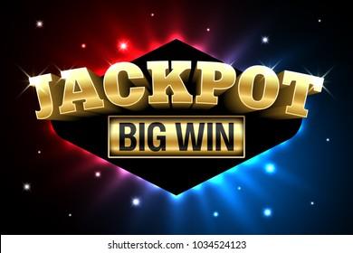 Jackpot, gambling casino money games banner, big win, vector illustration