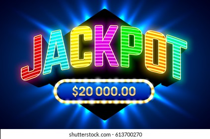 Jackpot gambling game bright banner with winning, vector illustration
