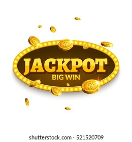 Jackpot gambling retro banner decoration. Business jackpot decoration. Winner sign lucky symbol template with coins money.