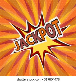 Jackpot graffit poster with comic speech bubble colorful art or background
