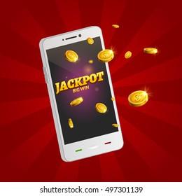 Jackpot money smart phone coins big win. Big income earn mobile technology.