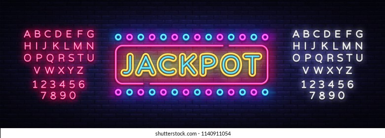 Jackpot neon sign vector. Casino Design template neon sign, light banner, neon signboard, nightly bright advertising, light inscription. Vector illustration. Editing text neon sign
