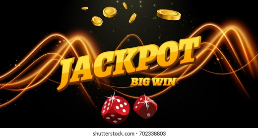 Jackpot sign decoration. Vector banner for casino. Template with coins money, dice.