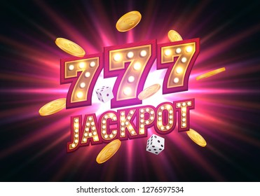 Jackpot sign with falling gold coins. Shining retro banner. Vector illustration.