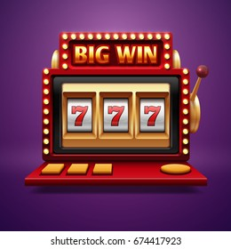 Jackpot slot casino machine. Vector one arm bandit. Slot machine for casino, lucky seven in gambling game illustration