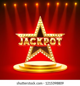 Jackpot star frame podium text on the red background. Vector illustration