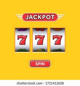 Jackpot triple seven in a yellow slot machine. Lucky seven. Casino vegas game. Slot machine game prize. Win 777 jackpot