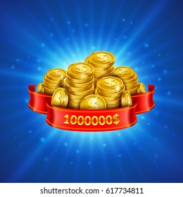 Jackpot winner background. Golden treasure illustration. Eps10 vector illustration.